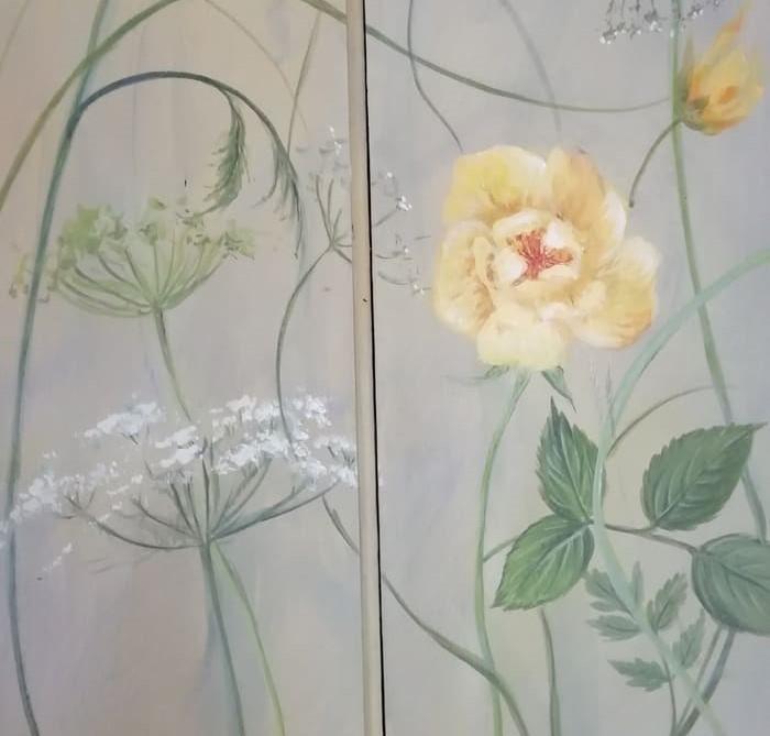 peinture décorative - fleur jaune