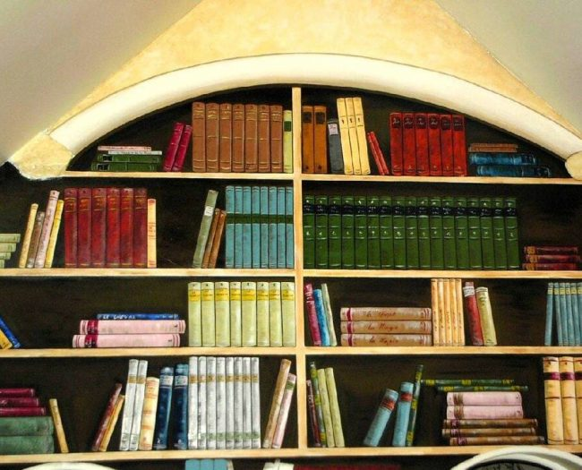 trompe l'oeil bibliothèque décoratrice seine et marne