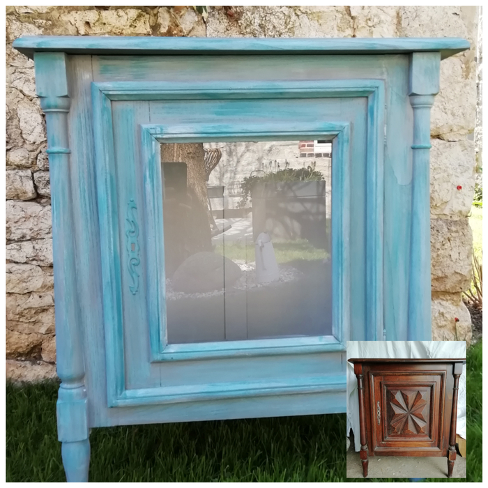 relooking meuble commode bleu